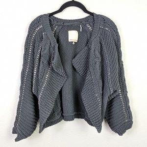 Rebecca Taylor Chunky Knit Metal Cardigan Size S